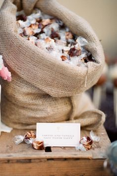 Design Inspiration - Fill burlap bags to overflowing with candy, both homemade and store bought.