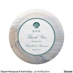 Elegant Monogram u0026 Teal Scallop Beach Wedding Paper Plate  sc 1 st  Pinterest & Glam Swirly Flourish Gold Foil Outline Wedding Paper Plate | Wedding ...