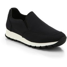 Prada Nylon Slip-On Sneakers (5.845 ARS) ❤ liked on Polyvore featuring shoes, sneakers, apparel & accessories, black, slip on shoes, sports shoes, prada sneakers, black trainers and black platform shoes