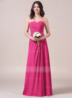 A-Line/Princess Sweetheart Floor-Length Chiffon Bridesmaid Dress With Ruffle (007058123)