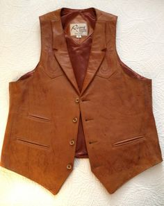 Vintage 1970s Leather Vest for Men Chest Size 40 by BarbeeVintage, $29.00
