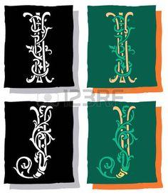 Estilo medieval, las letras del alfabeto ingl�s, I y J, mono y color photo