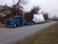 Matte blue Peterbilt heavy haul