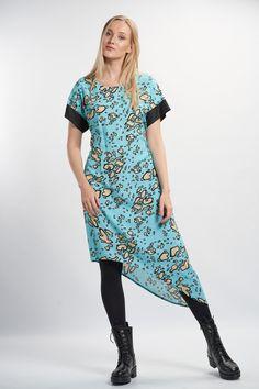 Vellamo Dress - Light Blue :: Vuurran.fi Seventh Wave, Black Fabric, Fabric Patterns, Woven Fabric, Light Blue, Short Sleeve Dresses, Feminine, Elegant, Beautiful