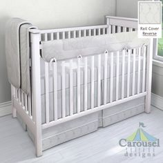 Crib bedding in White Lace Illusion, White Diamond Satin, Solid White, White Minky Chenille. Created using the Nursery Designer® by Carousel Designs where you mix and match from hundreds of fabrics to create your own unique baby bedding. #carouseldesigns