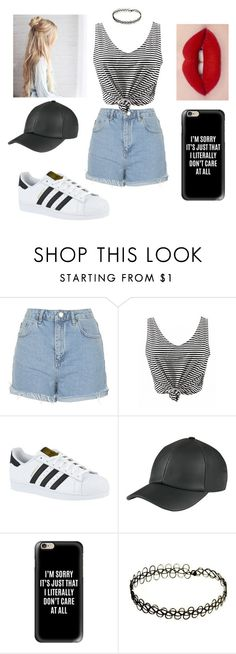 """""""B&W&R"""" by mmccallum ❤ liked on Polyvore featuring Topshop, adidas and Casetify"""