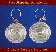 Want to make a belt with these....Tribal Silver Earrings Chinese Ethnic Hmong Miao Jewelry #309 Uniquely Handmad http://www.chinesefashionstyle.com/earrings/