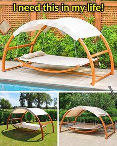 Hammock Bed, Outdoor Hammock, Backyard Retreat, Backyard Ideas, Backyard Renovations, Shade Canopy, Relaxing Music, Tnt Minecraft, In The Heights