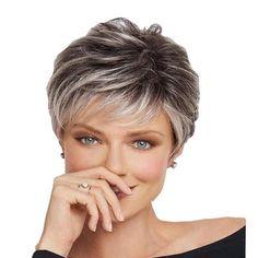 Short hair wig Haircut For Older Women, Short Hair Cuts For Women, Short Hairstyles For Women, Short Pixie Haircuts, Pixie Hairstyles, Easy Hairstyles, Pixie Bangs, Anime Hairstyles, Haircut Short