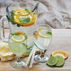 Water infused with citrus and mint.