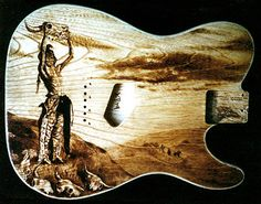 "Handmade pyrography burned into a custom ESP-telecaster guitar body, ash. 1994 Reproduction from Frederic Remington's lithograph ""Conjuring Back the Buffalo"" Esp Guitars, Unique Guitars, Custom Guitars, Guitar Room, Guitar Art, Frederic Remington, Telecaster Guitar, Beautiful Guitars, Wall Art For Sale"