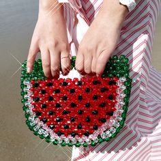 Fruit and Fashion collide in the best way this summer and we've got all the Fruit Accessories to keep you on trend! Check out our latest styles and shop the links to get in on the fun! Crochet Cord, Diy Handbag, Beaded Crafts, Bead Store, Handmade Purses, Beaded Bags, Girls Bags, Knitted Bags, Bead Weaving