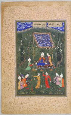 Lovers' Picnic, painting (recto), text (verso), illustrated folio from a manuscript of the Divan (Collected Works) of Hafiz Classification Manuscripts Work Type manuscript folio Date c. 1530 Places Creation Place: Middle East, Iran, Tabriz Period Safavid period Culture Persian