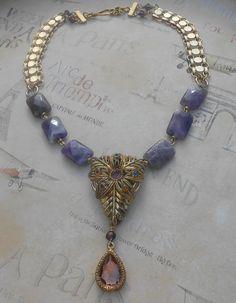 Amethyst Purple Vintage Necklace Assemblage by Vinchique on Etsy