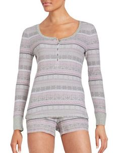 Lord & Taylor Printed Thermal Long-Sleeve Shirt and Shorts Pajama Set