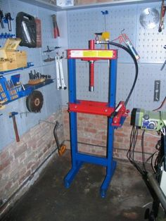Press Modification by c.phili -- Modification of a. Press Modification by c.phili -- Modification of a. Hydraulic Shop Press, Metal Working Tools, Hex Key, Homemade Tools, Garage Shop, Garage Workshop, Tools And Equipment, Welding Projects, Interior Decorating