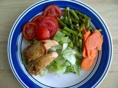 Asparagus salad and steam chicken