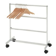 Three tier deluxe clothing hanger storage rack on casters for easy mobility Clothes Hanger Storage, Clothes Racks, Carpet Cleaning Machines, Flooring Sale, Plastic Hangers, Hanging Bar, Chrome Colour, Best Carpet, Diy Storage