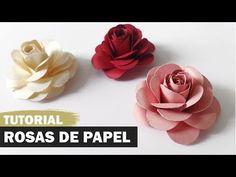 Como fazer uma rosa de papel - YouTube Big Flowers, Fabric Flowers, Paper Flowers, Diy Paper, Paper Art, Paper Crafts, Tutorial Rosa, Punch Art, Paper Flower Tutorial