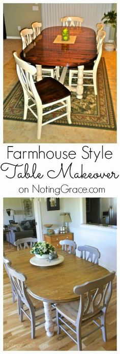 Noting Grace: Farmhouse Style Table Make-over.  If I get inspired, I might do something similar with my old, old dining room table.