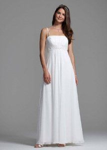 Wedding Dress Spaghetti Strap Chiffon A-Line with Front Draping