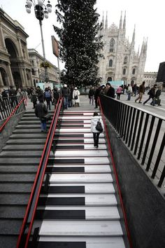 "Live Sound: Musical Staircase Milan's subway station of Piazza Duomo for ""LiveMi""., province of Milan, Lombardy region Italy. why didnt i go on it when i was in milan! Oh The Places You'll Go, Places To Travel, Places To Visit, Travel Destinations, Stairway To Heaven, Banksy, Belle Photo, Italy Travel, Wonders Of The World"