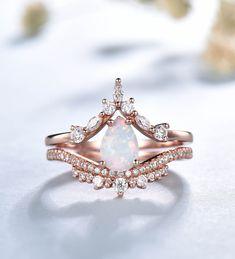 Opal Wedding Ring Set, Fire Opal Engagement Ring, Wedding Ring Sets Unique, Wedding Rings, Wedding Set, Dream Wedding, Pagan Wedding, Morganite Engagement, Gold Wedding