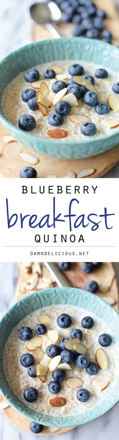 Blueberry Breakfast Quinoa: start your day off right with this protein-packed breakfast bowl!