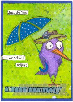Tim Holtz Crazy Birds / Just be you / hat & umbrella