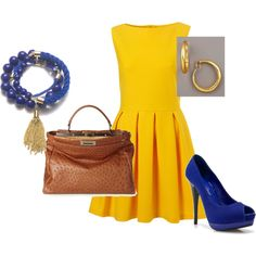 """""""Blue and Yellow"""" by kendallth on Polyvore  This bag is over $12,000…for what reason idk. I still like the outfit idea."""