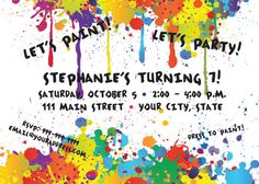 Painting Party Invitation by SusanCDesigns on Etsy