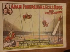 """Vintage Circus Advertising Poster. In the corner it says """"Copyright 1960 Circus World Museum"""". This is a vintage print of a much older circus poster (I believe the original was from around the 1940s or so). Measures 19"""" x 13.5"""". Condition is as seen in photos. Some discoloration from age. Will be shipped rolled in a mailing tube. Please take a look at the photos and feel free to ask any questions. Thanks!!   eBay!"""
