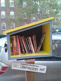 Plexiglass door, angled roof allows for different size books