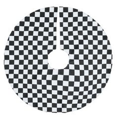 black and white checkered squares brushed polyester tree skirt