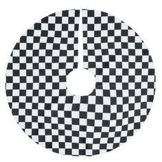 black and white checkered squares brushed polyester tree skirt - Black Christmas Tree Skirt