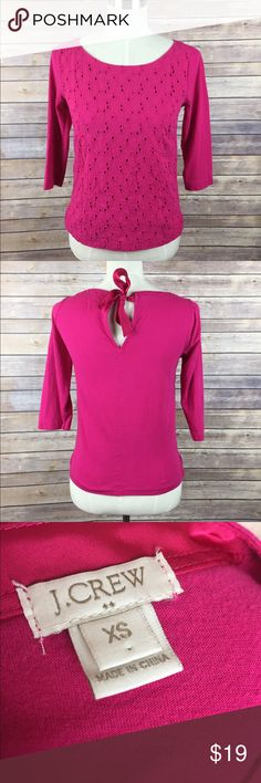 J Crew 3/4 Sleeve Bright Pink Flower Embossed Top Beautiful cotton top flower Embossed detail on front, solid pink J. Crew Tops Blouses