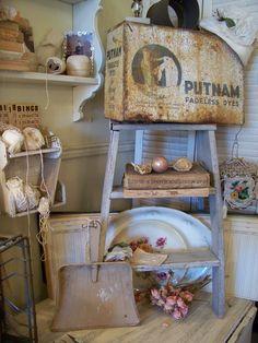 antique dye box and vintage ladder