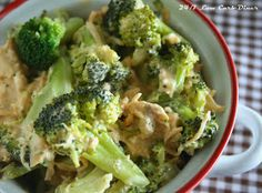 24/7 Low Carb Diner: Chicken and Broccoli Casserole for 2...or 6. You Choose. 1 1/2 lb boneless chicken breasts 1 tsp seasoning salt 8 oz cream cheese 1 cup chicken broth 1/4 cup heavy cream 1 tsp mustard powder 1 lb broccoli 1 cup shredded cheddar cheese (divided)