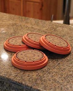 """Great for the Big Shot Clay Pigeon Drink Coasters man cave decor drinking with friends """"gifts for men"""" """"gifts for hunters"""" """"gifts for cowboys"""" hunting hunter bow shotgun white tail deer elk pheasant outdoors """"gifts for outdoorsmen"""" woodland camo Diy Gifts For Men, Diy Crafts For Gifts, Gifts For Boys, Men Gifts, Ammo Crafts, Clay Crafts, Shotgun Shell Crafts, Shotgun Shells, Bullet Casing Crafts"""