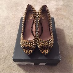MAKE ME AN OFFER/Vince Camuto Cheetah Pumps Brown spotted cheetah pump. Open-toe with pony hair and gold spikes. Better grab them. They're a must have!!! You can rock these with various looks-Treat this print like a neutral and pair it with everything!!  The new trend  Vince Camuto Shoes Platforms