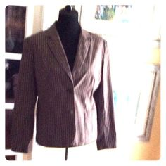 Talbots Jacket sz 16 Nice Talbots pin striped brown Jacket in good condition. Lined  the shell is 84% cotton 11% nylon 4% Lycra spandex the lining is polyester . Very nice Jacket light weight . Talbots Jackets & Coats Blazers