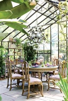 Green house dining. I wanna something like this but a lot more SMALLER in my backyard of the house.