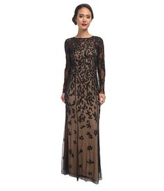 Adrianna Papell Patchy Floral Beaded Illusion Gown Black Nude - Zappos.com Free Shipping BOTH Ways