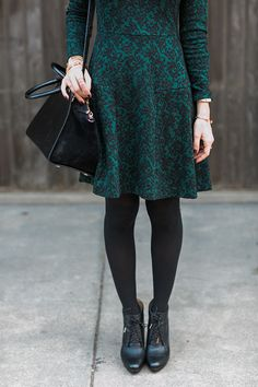 green baroque print dress with heeled ankle booties M Loves M