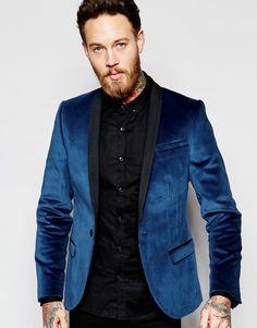 Lækre Noose & Monkey Velvet Blazer In Super Skinny Fit - Blue Noose & Monkey Blazere til Herrer i fantastisk kvalitet