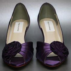 Purple kitten heel  Bridal Shoes | Purple Wedding Shoes -- Purple Kitten Heels with Single Rosette ...