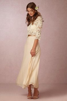 Bhldh Spring 2016 Two Piece Wedding Dresses With Jewel Collar 3/4 Long Sleeve Lace And Chiffon Wedding Gowns Ankle Length Custom Made Plain Wedding Dresses Sexy Wedding Gowns From Liuliu8899, $216.29| Dhgate.Com