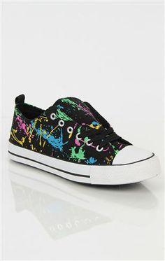 Deb Shops low top #sneaker with splattered paint print  $20.90