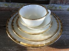 Vintage Fire king Golden anniversary swirl by polkadotsandcurls, $200.00.  We had this whole set when I was growing up.