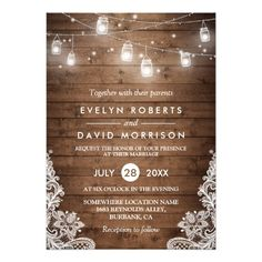 Rustic Wood Mason Jars String Lights Lace Wedding Card ================= ABOUT THIS DESIGN ================= Rustic Wood Mason Jars String Lights Lace Wedding Invitation Template. (1) All text style, colors, sizes can be modified to fit your needs. (2) If you need any customization or matching items, please contact me. (In case you didn't get my response, please check the email SPAM folder)